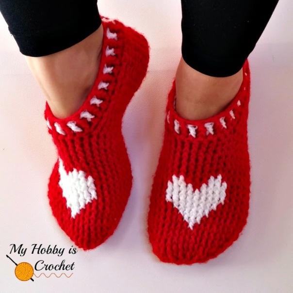 heart graph women crochet slippers