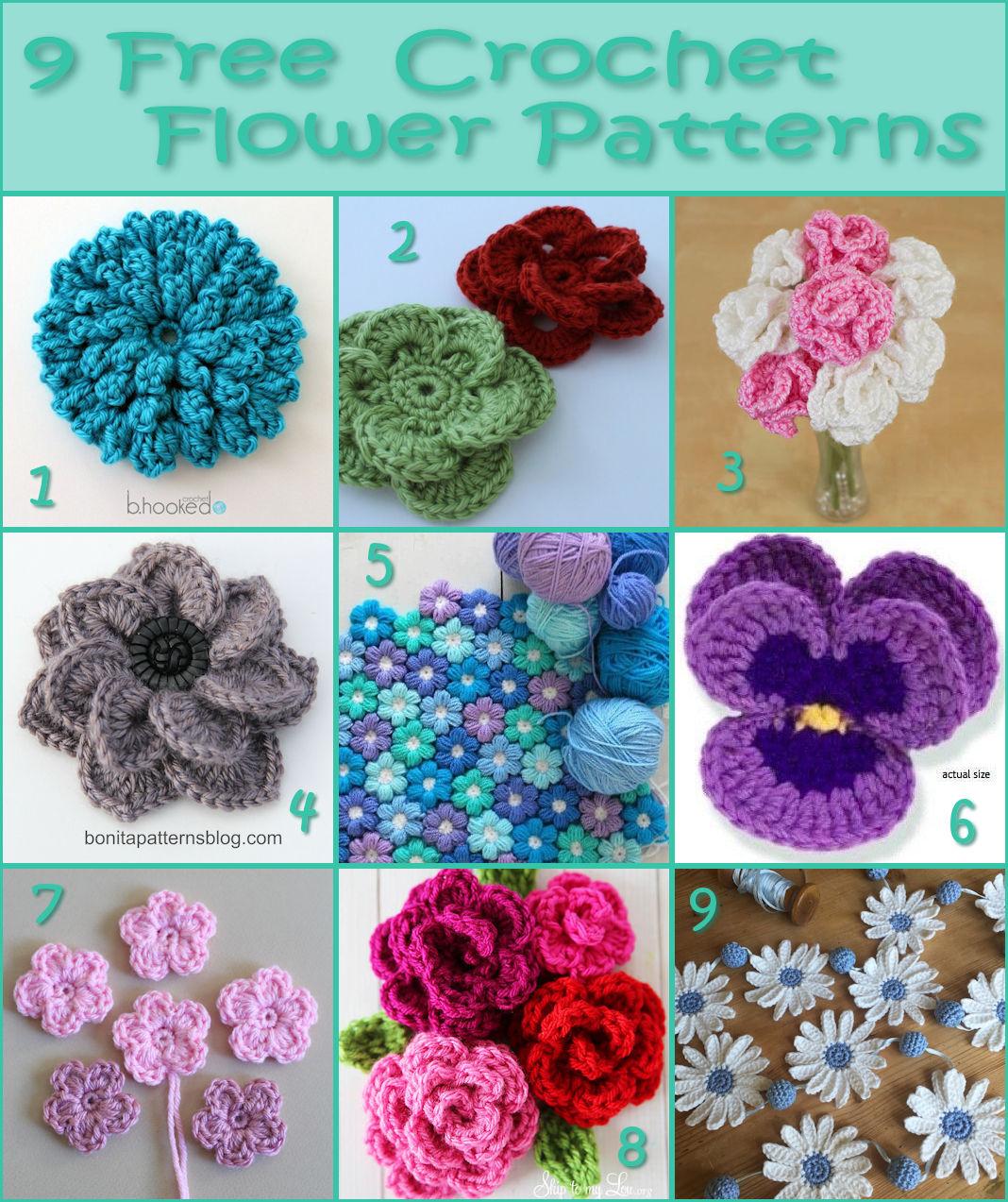 9 Free Crochet Flower Patterns